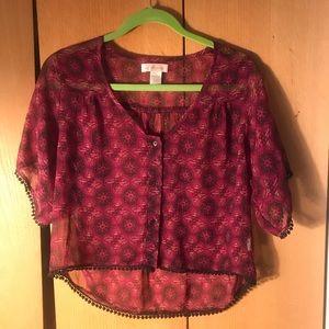 Band of Gypsies Crop blouse Sz XS